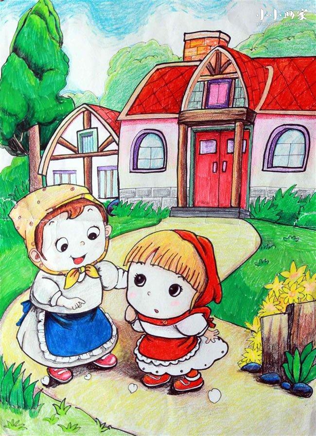 小红帽蜡笔画作品图片- www.xiaoxiaohuajia.com