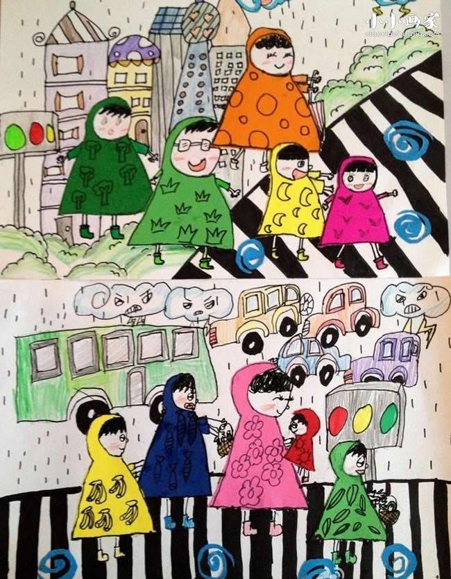 放学时下雨了蜡笔画作品图片- www.xiaoxiaohuajia.com