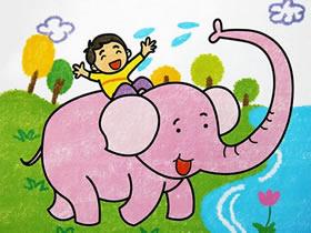 骑大象的小男孩蜡笔画作品图片