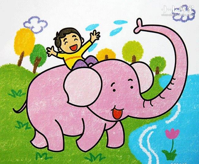 骑大象的小男孩蜡笔画作品图片- www.xiaoxiaohuajia.com