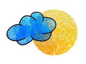 云朵月亮手指画图片教程