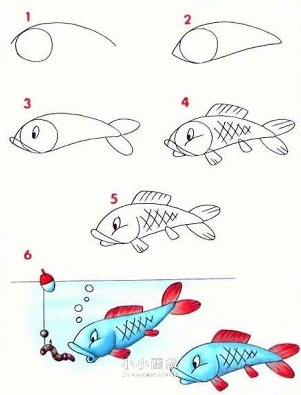 鲤鱼铅笔画画法教程- www.xiaoxiaohuajia.com