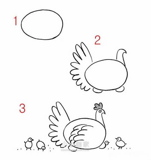 妈妈简笔画简单�9��.�_鸡妈妈简笔画画法图片步骤_小小画家