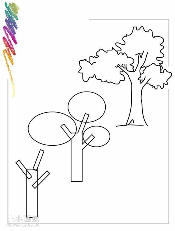 简单大树铅笔画画法教程- www.xiaoxiaohuajia.com