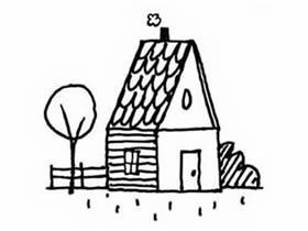 带院子小房子简笔画画法图片步骤