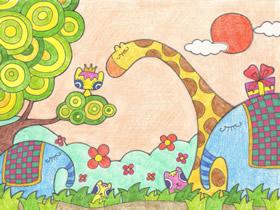 动物王国卡通蜡笔画作品图片