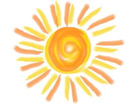 可爱太阳蜡笔画作品图片