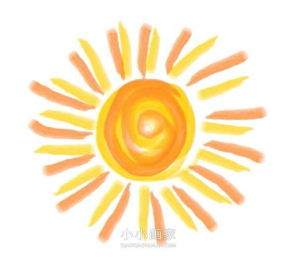 可爱太阳蜡笔画作品图片- www.xiaoxiaohuajia.com