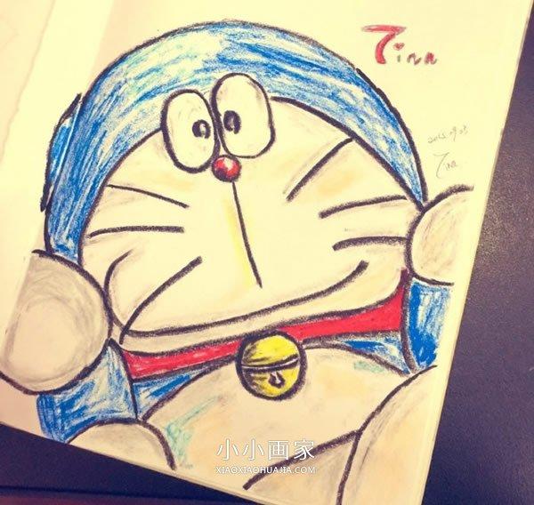 漂亮哆啦a梦蜡笔画作品图片- www.xiaoxiaohuajia.com