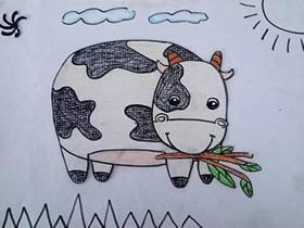 吃草的奶牛蜡笔画作品图片