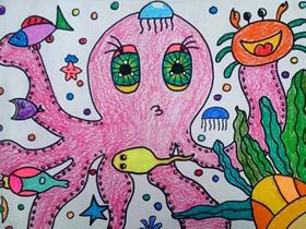 可爱大章鱼蜡笔画作品图片