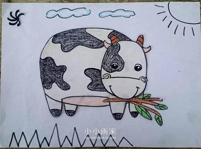 吃草的奶牛蜡笔画作品图片- www.xiaoxiaohuajia.com