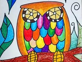 美丽的猫头鹰蜡笔画作品图片