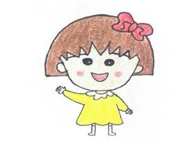 可爱樱桃小丸子蜡笔画作品图片