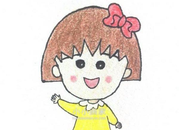 可爱樱桃小丸子蜡笔画作品图片- www.xiaoxiaohuajia.com