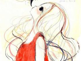 美丽长发女生蜡笔画作品图片