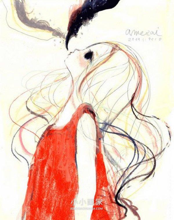 美丽长发女生蜡笔画作品图片- www.xiaoxiaohuajia.com