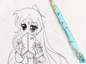看书的漂亮女生铅笔画作品图片