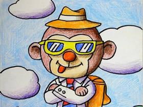 搞笑猴子先生蜡笔画作品图片