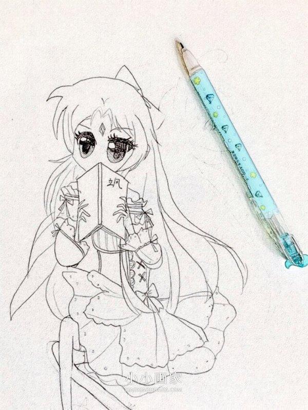 看书的漂亮女生铅笔画作品图片- www.xiaoxiaohuajia.com