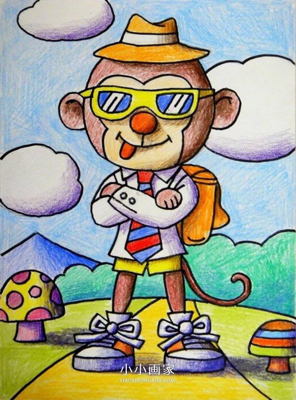 搞笑猴子先生蜡笔画作品图片- www.xiaoxiaohuajia.com