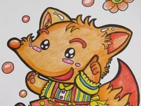 调皮的漂亮小狐狸蜡笔画作品图片
