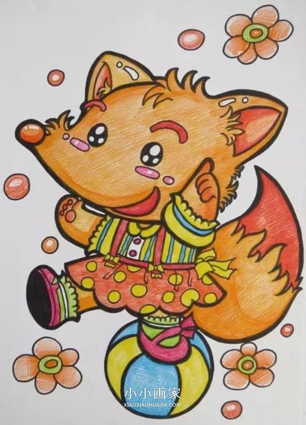 调皮的漂亮小狐狸蜡笔画作品图片- www.xiaoxiaohuajia.com