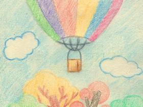 漂亮的热气球蜡笔画作品图片