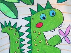 可爱的卡通小恐龙蜡笔画作品图片