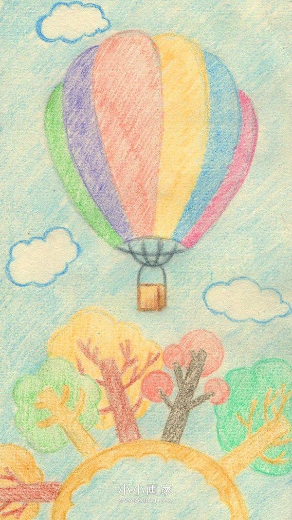 漂亮的热气球蜡笔画作品图片- www.xiaoxiaohuajia.com