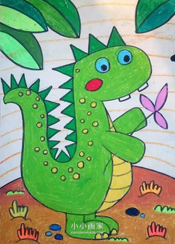 可爱的卡通小恐龙蜡笔画作品图片- www.xiaoxiaohuajia.com