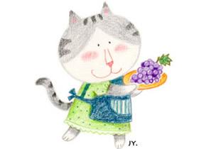 漂亮猫妈妈蜡笔画作品图片