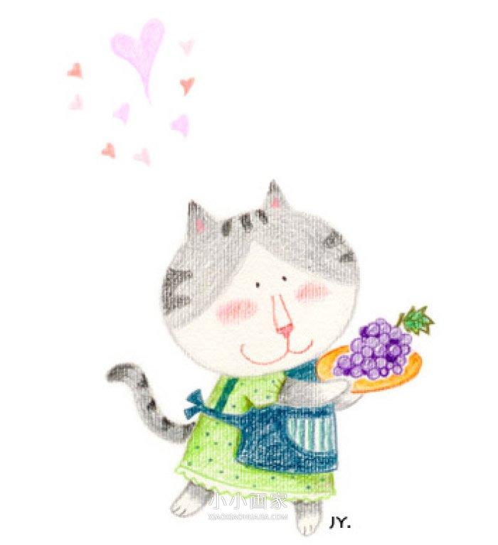 漂亮猫妈妈蜡笔画作品图片- www.xiaoxiaohuajia.com