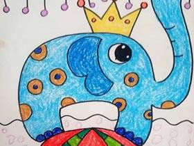 马戏团表演的大象蜡笔画作品图片