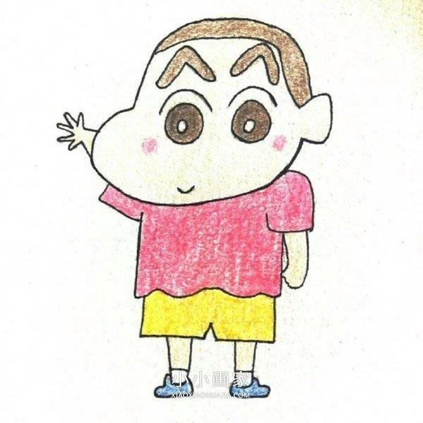 挥挥手的蜡笔小新蜡笔画作品图片- www.xiaoxiaohuajia.com