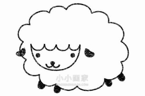 可爱小绵羊简笔画画法图片步骤 小小画家
