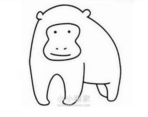 小猴子简笔画画法_卡通大猩猩简笔画画法图片步骤_小小画家