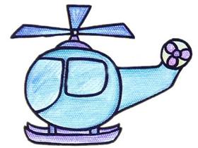 彩色直升飞机简笔画画法图片步骤