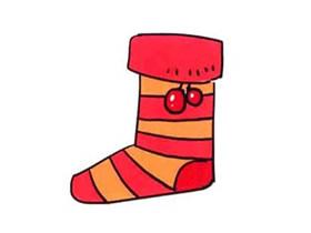 彩色圣诞袜子简笔画画法图片步骤