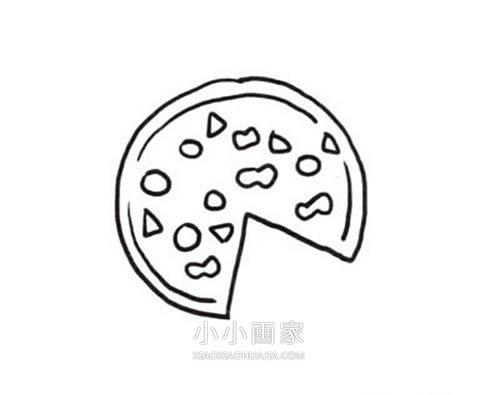 彩色披萨简笔画画法图片步骤- www.xiaoxiaohuajia.com