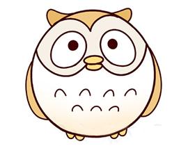 卡通猫头鹰简笔画画法图片步骤