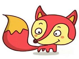 漂亮的红色狐狸简笔画画法图片步骤