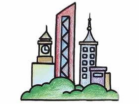 高楼大厦的简笔画画法图片步骤
