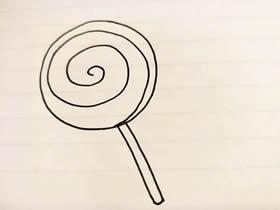 最简单棒棒糖简笔画画法图片步骤