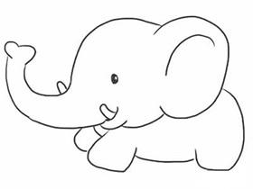 奔跑的卡通大象简笔画画法图片步骤
