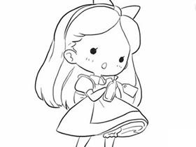 可爱女孩爱丽丝简笔画画法图片步骤