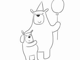 和宝宝过生日的熊爸爸简笔画画法图片步骤