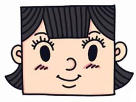 方方脸卡通女孩简笔画画法图片步骤