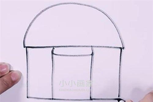带烟囱小房子简笔画画法图片步骤- www.xiaoxiaohuajia.com