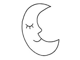 简单卡通月亮简笔画画法图片步骤
